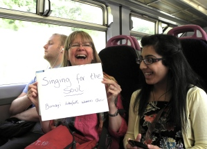 Preparing to flashmob on the train from Burnley to Blackburn