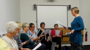 Choir practice with our leader Janet Swan.